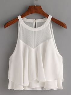 Mesh+Halter+Neck+Layered+Chiffon+Top+-+White+14.99 Celebrity Fashion Outfits, Girls Fashion Clothes, Pretty Outfits, Cute Outfits, Crop Top Outfits, Romwe, Blouse Designs, Chiffon Tops, Spring Outfits