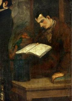 Baudelaire reads in a painting by Gustave Courbet.
