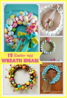 """With spring around the corner we also get the lovelyEasterHoliday,so today I am sharing a round up of """"15 Easter Egg Wreath Ideas. """" Yes'Easter is just sitting around the corner.. """"teasing us""""….who is ready for spring? Me! Me Me! I puffy puffy PuFfY heart Spring time. Is there really anything more beautiful then trees …"""