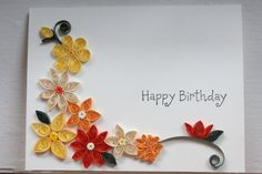 Handmade birthday card with paper quilled flowers