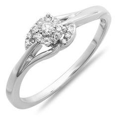 0.15 Carat (ctw) 10k White Gold Round Diamond Ladies Engagement Swirl Promise Bridal Ring #engagementphotos