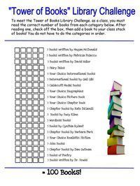 Tower of Books Library Challenge 2nd Grade