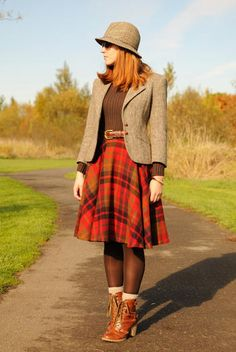 My Outfits | Go Chic or Go Home--plaid skirt, Brown tights, ankle boots with socks, sweater, blazer, belt