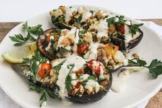Chickpea stuffed eggplant with couscous and tahini sauce | Dishing Up the Dirt