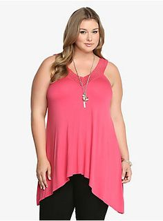 "Oh, you're going to thank us for this beauty. In pretty rouge pink, this lively look is a total eye-grabber. It has a feminine crochet neckline and an on-trend sharkbite hem. Finished with a super knit you're going to absolutely adore this easy-moving style.<BR><BR><P><B>Model is 5'11"", size 1</B></P><ul><li> Size 1 measures 29 3/4"" from shoulder</li><li>Rayon/spandex</li><li>Hand wash cold, dry flat</li><li>Imported plus size tank</li></ul>"