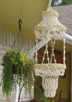 Sea Shell Hanging Planter by TheGirlFromYesterday on Etsy, $28.00