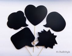 Chalkboard Photo Booth Props Speech Bubbles by ChalkStyle, $14.95  The chalk board bubbles are made of lightweight foam core (foamboard), coated with three thick layers of chalkboard paint, so that you can write whatever you like on them and get fun photos. Wipe off the chalk using a damp sponge or a piece of cloth.
