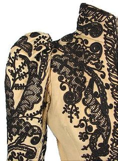 c. 1891 Wool Soutache Jacket! Black soutache over beige or light tan wool jacket.