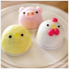 Manju - wagashi Gonna try make my mochi like this! Japanese Sweets, Japanese Wagashi, Japanese Food, Cute Desserts, Asian Desserts, Baby Food Recipes, Sweet Recipes, Kawaii Bento, Kawaii Dessert