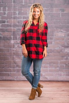 """""""Around The Way Tunic, Red-Black"""" You can't wrong with this gem! Red and black buffalo plaid should be a staple in everyone's closet! Especially when it's a super soft cotton tunic like this one! #newarrivals #shopthemint"""