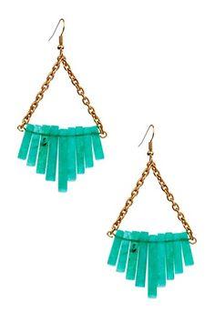 Ceek Jewelry, Triangle Chain & Stone Fringe Earrings, Emerald