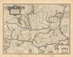 Balkans Romania Antique Map Blaeu 1643