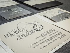 Black and White Wedding Invitations Pocketfold by JulieHananDesign, $150.00