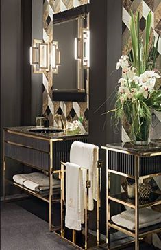 Academy Luxury Bathroom Collection Features Deco Design Inspiration In Hand Made Vanities Cabinets And Accessories Marble Tops Geometric Decorations And