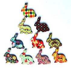Funky Bunnies Wooden Buttons