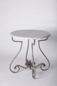 $719 base and $245 top in 600 glass round or sq Round Steel Table Marble Glass Outdoor French Provincial Le Forge