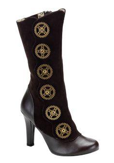 Women's 4 Inch Heel Steampunk Calf Boot With Steam Gear Buttons And Inner Zipper (Brown Pu;7)