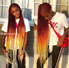43 Cool Blonde Box Braids Hairstyles to Try - Hairstyles Trends Black Girl Braids, Braids For Black Hair, Girls Braids, Afro Hair Style, Curly Hair Styles, Natural Hair Styles, Box Braids Hairstyles, Corn Row Hairstyles, African Hairstyles