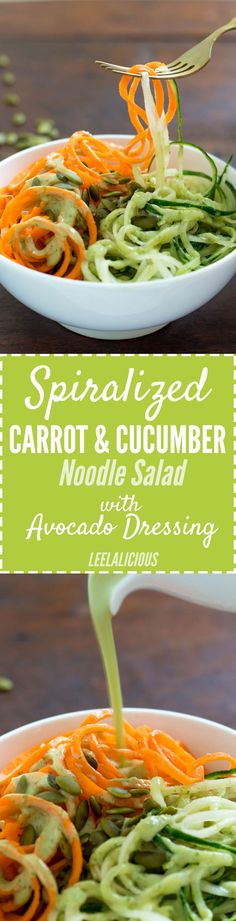 This Carrot & Cucumber Noodles Salad with creamy Avocado Dressing uses spiralized vegetables for a healthier, refreshing pasta salad alternative with fewer carbs.
