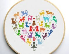 Heart and Cats is a pattern, not the completed work.  I designed it myself.  On 14-count aida the design measures 5.9*5.9 inches. Sizes will change with count size.  Design used 11 DMC thread colors. This pattern is in PDF format and consists of a floss list, and a color symbol chart. If you have any questions about this pattern, please ask me. I will contact you with any further instructions when order is received.  After the payment successfully processes, the buyer will receive an…