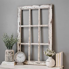 Our Weathered Rustic Windowpane Wood Wall Plaque is a striking way to achieve a farmhouse look. The stunning detail will become the centerpiece of any room. Rustic Window Frame, Window Frame Decor, Window Panes, Rustic Windows, Wooden Wall Plaques, Wood Wall, Rustic Wall Decor, Wall Art Decor, Wall Decorations