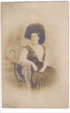 RPPC-Big-Woman-Big-Hat-Atlantic-City-NJ-Boardwalk-Undivided-Real-Photo-Postcard