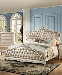 ACME Furniture Chantelle 23540Q Queen Bed, Rose Gold PU & Pearl White