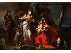 DIE AUFFINDUNG DES MOSES Öl auf Leinwand. 65 x 95 cm. Der herausragende Maler und Bühnenentwerfer Giovanni Battista Crosato war in der Gegend zwischen...