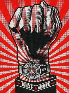 Obey / Shepard Fairey : Rise Above Fist / Peace Power - Glastonbury Festival 2010 Shepard Fairey Art, Shepard Fairy, Graffiti, Pop Art Images, Obey Art, Political Art, Political Posters, Propaganda Art, Ligne Claire