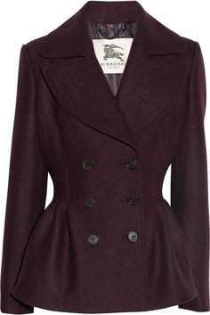 Burberry Felted Wool Peplum Jacket