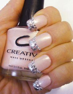 blingy French tips nail art