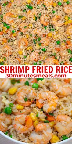 Shrimp Fried Rice recipe is made with fresh shrimp, rice, green onions, peas, carrots, and sesame oil. #shrimpfriedrice #rice #shrimp #30minutesmeals Best Seafood Recipes, Shrimp Recipes, Fish Recipes, Asian Recipes, Easy Shrimp Fried Rice Recipe, Asian Foods, Easy Cooking, Cooking Recipes, Meal Recipes