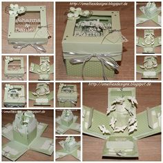 Stampin Up , Wedding card, Explosion Have to go to site and search for exploding boxes. Card In A Box, Pop Up Box Cards, Paper Cards, Folded Cards, Wedding Anniversary Cards, Wedding Cards, Boite Explosive, Exploding Gift Box, Memories Box