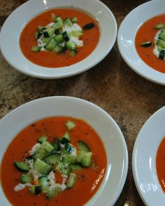 Our Christmas 2011. STARTER: gaspacho-inspired cold tomato soup with a dollop of plain yoghurt, cubed cucumber, & black pepper.