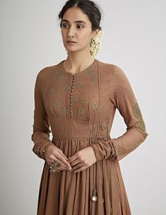 Buy Kaahi Brown Hand Embroidered Angrakha Set by Dhruv Singh Available at Ogaan Online Shop Long Dress Design, Dress Neck Designs, Kurti Neck Designs, Blouse Designs, Indian Designer Outfits, Indian Outfits, Designer Dresses, Stylish Dresses, Trendy Outfits