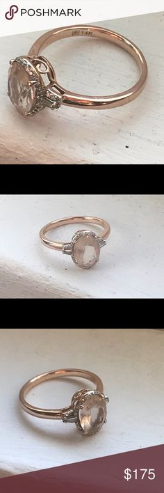 🎁Morganite 1.25ct,14k,Rose Gold/Diamond,Size-6🎁 🎁💍Authentic Morganite 1.25ct 14k Rose Gold & Baguette(1/10 ct) Diamond Ring Solitaire, prong setting , is a beautiful ring that is a re-Posh ,I bought of here but it's tight on my finger bec of weight gain, was going to keep this ring to replace my engagement ring but my husband size my ring so don't need it now , this ring has been worn 2x's and comes in original box I got from seller. QVC gems Jewelry Rings