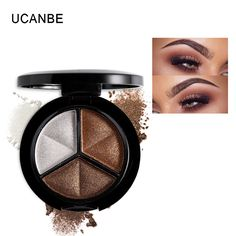 UCANBE Makeup Shimmer Eyeshadow Palette 3 Colors Smoky Cosmetics Set Professional Natural Matte Eye Shadow Sleek Palette Glitter www.peoplebazar.net    #peoplebazar
