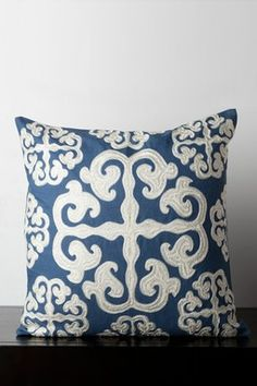 HauteLook | Throw Pillows Blowout: Embroidered Wool Trim Throw Pillow - Blue Ashes