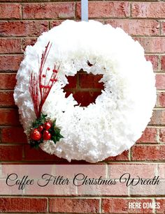 This coffee filter Christmas wreath is easy to make and looks stunning!