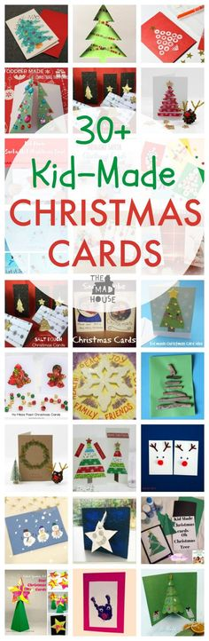 Kid-Made Christmas cards - over 30 achievable Christmas cards to craft with children. There is a card for every age and ability for the festive season.