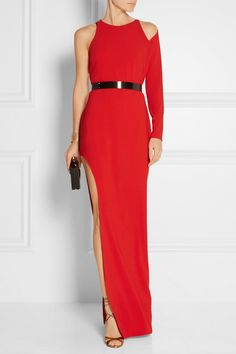 Red stretch-crepe Concealed hook and zip fastening at back 90% polyester 5a91b12a4eca