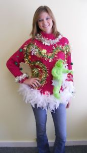 Wooza Crazy Grinch Light Up Ugly Christmas Sweater Jumper Mens