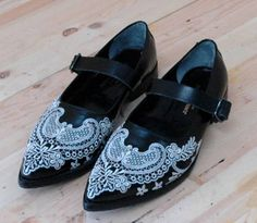 embroidered leather shoes Comme des Garcons JUNYA WATANABE