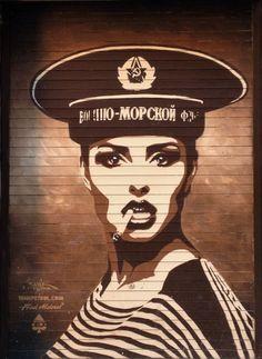 streetart In Manchester, UK by Tankpetrol | original: photo by John Farrar | *Inscription of Russian Navy, Marine uniform.