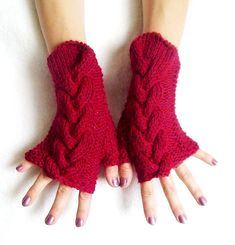 Red Fingerless Gloves Cabled Wrist Warmers Warm and by LaimaShop, $33.00