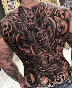 by Artista IG: . the_art_of_tattooing - Tatuajes Back Piece Tattoo Men, Egyptian Tattoo Sleeve, Gangster Tattoos, Piercings, Tatted Men, Full Back Tattoos, Back Pieces, Pikachu, Black And Grey Tattoos