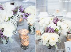 Peony and lavender centerpieces at the Shenorock Shore Club #wedding