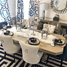 home accessories Kitchen dining rooms - Stonefort Tufted Velvet Upholstered Dining Chair Dining Room Blue, Dining Room Table Decor, Living Room Decor Cozy, Elegant Dining Room, Luxury Dining Room, Decoration Table, Dining Room Design, Navy Blue Dining Chairs, Dinning Room Ideas