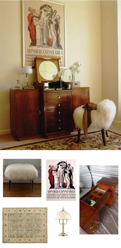 The fur gets a boudoir vibe and updates the look when paired with an old-fashioned vanity and glamorous accents.