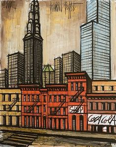 BERNARD BUFFET Le Cristal Building (1990) Buffet, Illustrator, Nyc Art, Expositions, Museum, New York, French Artists, Art Plastique, Art Techniques